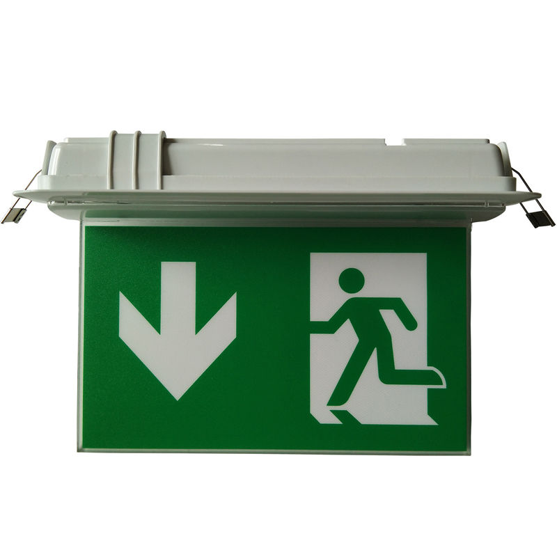 Small Size LED Ceiling Recessed Led Exit Signs With Emergency Lighting 3 H Operation
